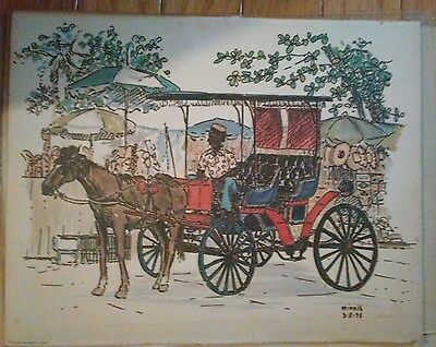 Color print horse and buggy 1975 signed minnis March 5th 1975