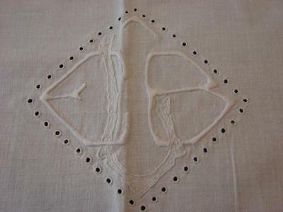 ANTIQUE VTG FRENCH COTTON SHEET AND BOLSTER WHITEWORK EMBROIDERY MONOGRAM 85x94""