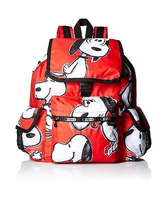 LeSportsac X Peanuts Voyager Backpack Snoopy Toss Red New