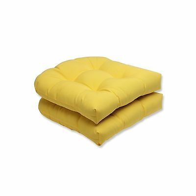 Pillow Perfect Outdoor Fresco Yellow Wicker Seat Cushion Set of 2 New