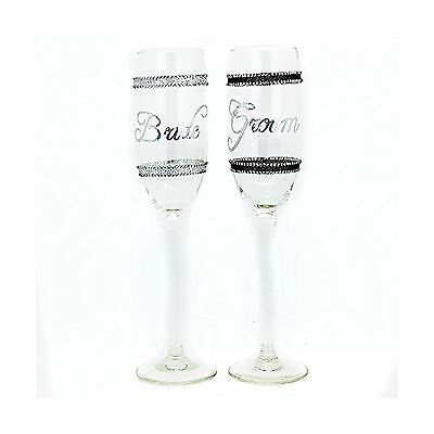 Bachelorette Bride and Groom Champagne Flute Clear Set of 2 New