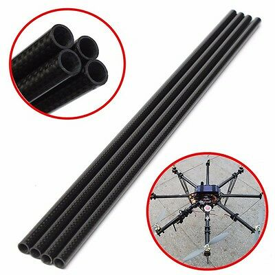 4pcs 3K 8mm x 10mm x 500mm Roll Wrapped Carbon Fiber Tube Boom for Multicopter