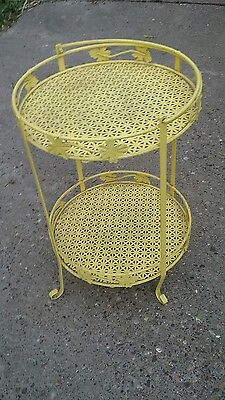 VINTAGE 2 tier Metal Mesh Table Yellow PLANT SHELF STAND MID CENTURY