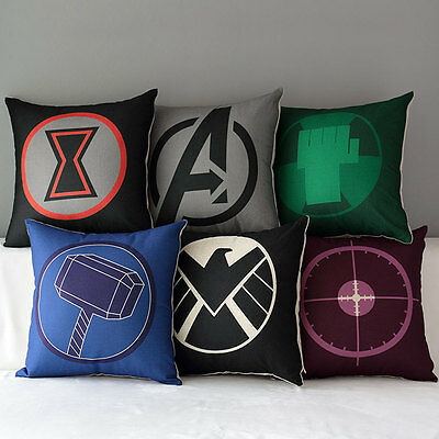 """17"""" Marvel Avengers Superheroes Home Decorative Throw Pillow Case Cushion Cover"""