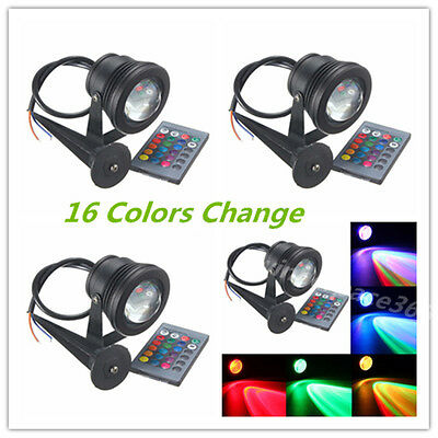 4pcs 10W RGB LED Spot Light outdoor Garden Lamp 12V Waterproof with Remote+Spike