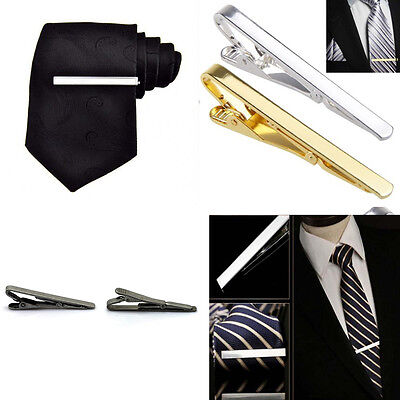 Men Stainless Steel Tone Simple Necktie Tie Bar Clasp Clip Clamp Pin Gift 4CM GD