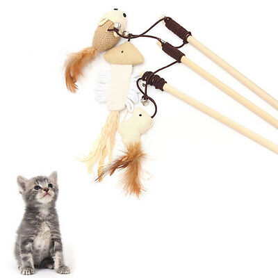 Funny Kitten Play Interaction Toy Cat Teaser Wand Assorted Linen Mouse Toy AU