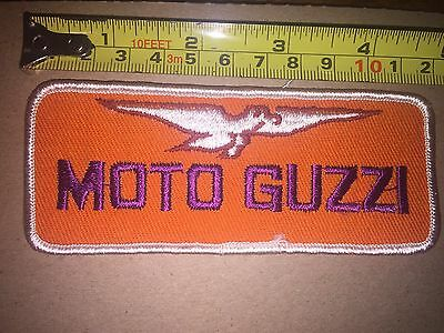 VTG MOTO GUZZI  VINTAGE SEW ON EMBROIDERED PATCH New Old Stock  4 7/16 x 2 1/8
