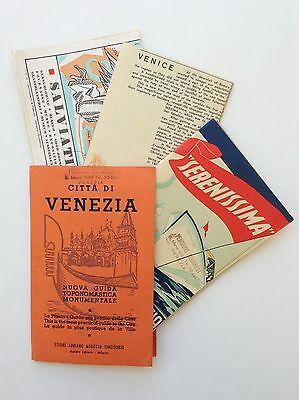 1953 Venice Italy Color Maps and Tourist Guide Packet