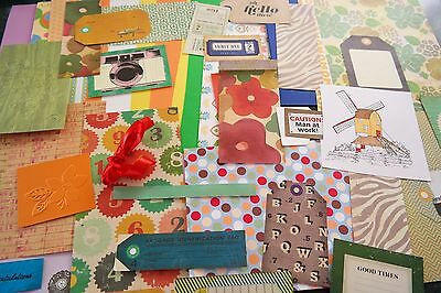 Craft, carding making, scrapbooking, paper and embellishments 50 pieces