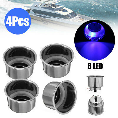4x Blue 8 LED Stainless Steel Cup Drink Holder For Marine Car Boat Camper -UK