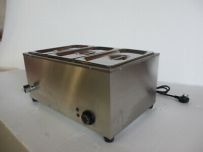 Commercial Catering Kitchen Stainless Steel Electric Bain Marie 3 Pans & Lids