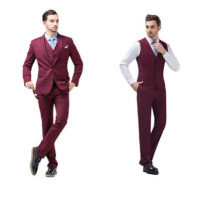 Burgundy Slim Fit Men Groom Suit Tuxedos Formal Groomsmen Wedding Suits Jacket