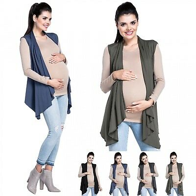 Zeta Ville - Women's maternity cardi gilet waterfall sleeveless cardigan - 398c