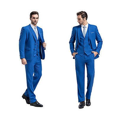 Blue Slim Fit Men Groom Suit Tuxedos Formal Groomsmen Wedding Suits Jacket Vest