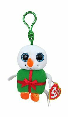 "Ty Baby Beanies Shivers Chirstmas Snowman 3"" Clip New"