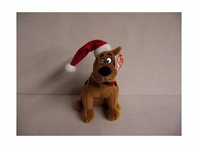 Ty Beanie Baby Scooby Doo with Christmas Hat New