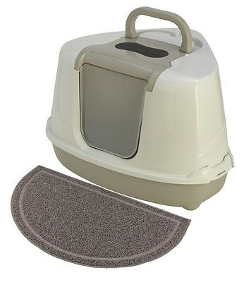 MAISON TOILETTE D'ANGLE CHAT AVEC TAPIS ANTI-SALISSURES AS97420taupe+AS97421TAP