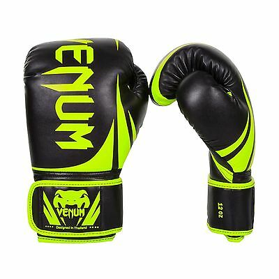 Venum Challenger 2.0 Boxing Gloves Black/Neo Yellow 14-Ounce New