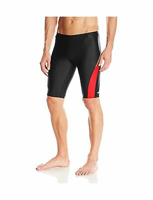 Speedo Men's Taper Splice Jammer Swimsuit Black/Red 36 New