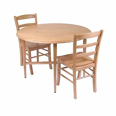 Winsome Wood Hannah Dining Set Drop Leaf Table with 2 Ladder Back Chairs ... New