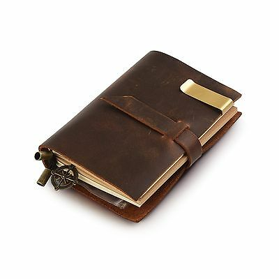 "7Felicity Classic Genuine Leather Notebook5.3"" x 4"" Refillable Pages Leat... New"