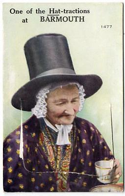Early BARMOUTH Welsh Lady Hat-tractions Novelty  Postcard