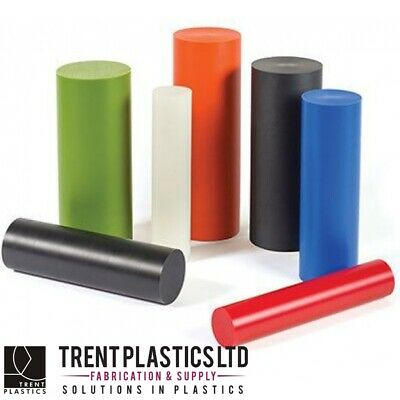 PVC Rod - Grey Black Red Round Plastic Bar Pom Cut to Size Poly Engineering
