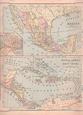 """1880  Map of Mexico, Central America, West Indies- 10x12"""" Nice Color"""