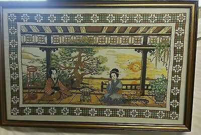 VINTAGE ORIENTAL FRAMED EMBROIDERY Chinese or Japanese Mid 20th Century sunset