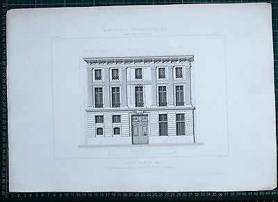 1880 French Architecture Print Style Louis Xvi Hotel Rue Des Francs Bourgeois