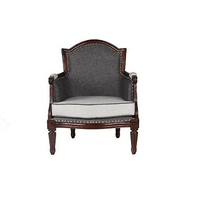 Upholstered Beautiful Single Setter Linen Fabric Black Vintage Wooden Arm Chair