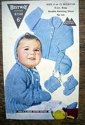 Vintage Knitting Pattern Bestway 3188 Baby's Jacket Bonnet Mitts Bootees DK