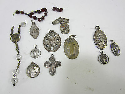 Vintage Lot of Rosary & Other Catholic Medallions- Silverplated & Sterling