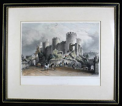 Antique 1850's hand coloured engraving, Conway castle. dated