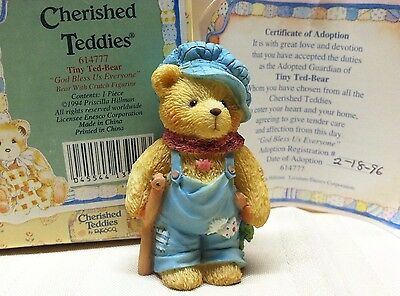 Cherished Teddies Tiny Ted Bear God Bless Us Everyone 614777 MINT Box COA '94