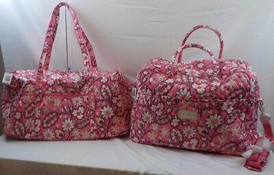 NEW NWT LOT VERA BRADLEY Grand Traveler Travel Bag + Large Duffel Blush Pink