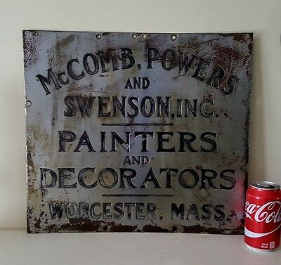 1910's Worcester Ma McComb, Powers & Swenson Inc Brass Advertising Sign