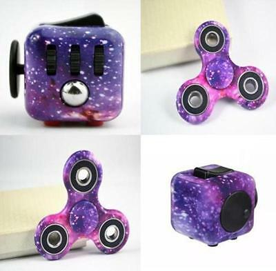 Purple Galaxy Camouflage Fidget Cube Hand Spinner Stress Relief Kids Adults Toy