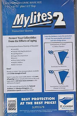50 E. Gerber Mylites 2 Mil Mylar Thick Standard Comic Book Bags sleeves 725 M2