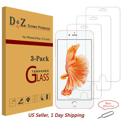 3x For iPhone 7/8 Plus Premium Real Tempered Glass Screen Protector Bubble Free