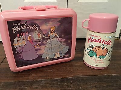 Vintage Walt Disney's Cinderella Lunchbox And Thermos, Made In USA By Aladdin