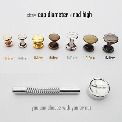 50set Metal Double Round Cap Tubular Rapid Rivet Spike Stud for Leather Belt Bag