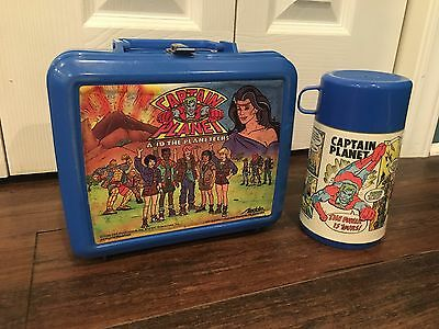Vtg. 1990 Captain Planet & The Planeteers Lunchbox & Thermos, USA Made, Aladdin