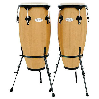 Toca Synergy 2300N-B 10 and 11 Inch Wooden Conga's in Natural with Basket Stands