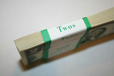 100 New Uncirculated 2 Two Dollar Bills BEP Pack in Sequential Order