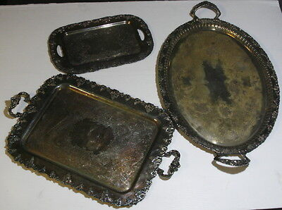 Antique Set of 3 Silverplate Trays – Old English Reproduction, WM Rogers