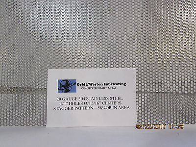 """1/4"""" Holes 20 Gauge--10"""" X 20""""-- 304 Stainless Steel Perforated Sheet"""