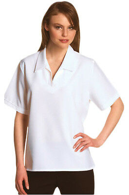 Ladies Woven Bowling Blouse - Open V Neck (White) Short sleeves  Sports