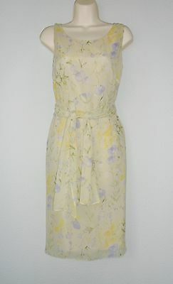 JACQUES VERT yellow lime mix 100% SILK Formal Wedding Occasion dress fits 10/12